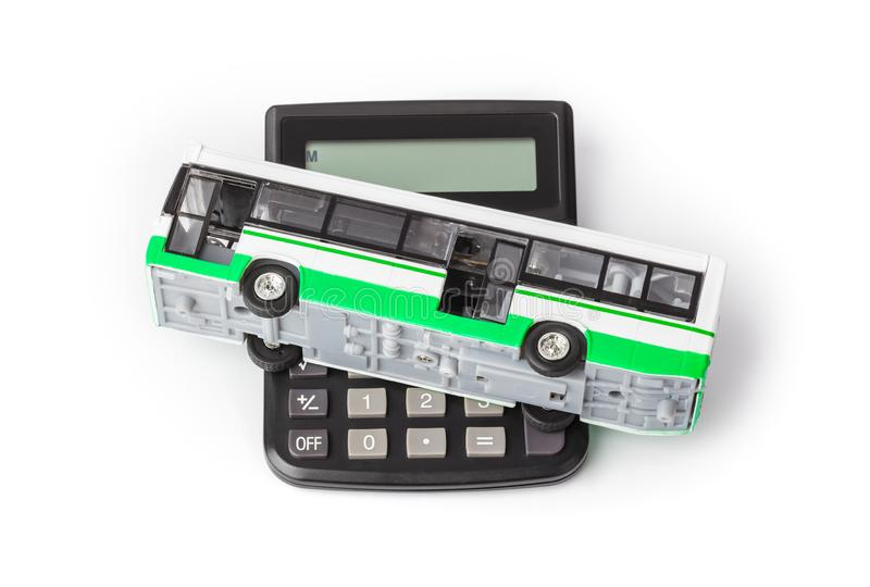 Calculator and toy bus royalty free stock photos
