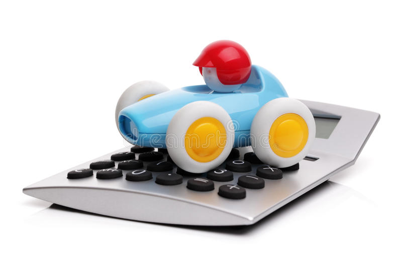 Calculator and toy car stock photography