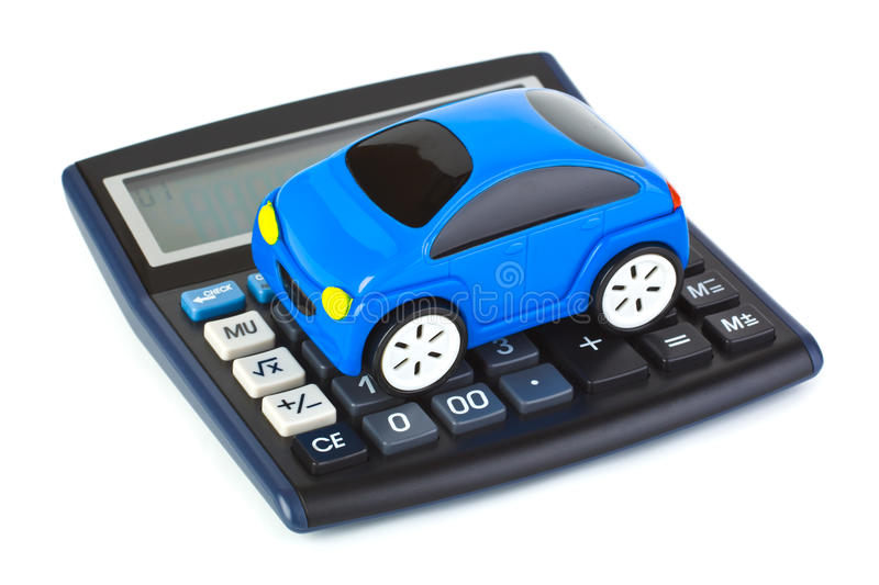 Calculator and toy car stock photos