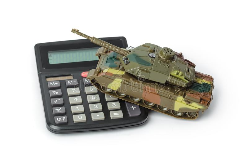 Calculator and toy panzer royalty free stock photography