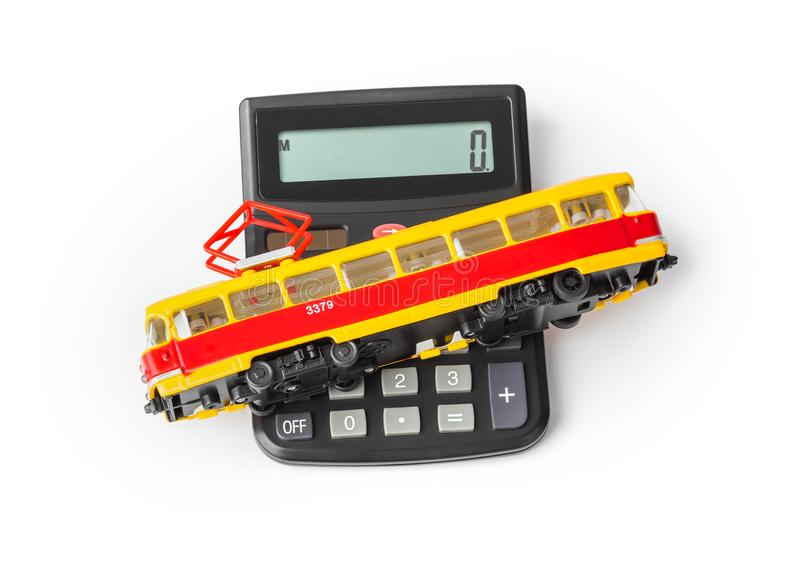 Calculator and toy tram royalty free stock images