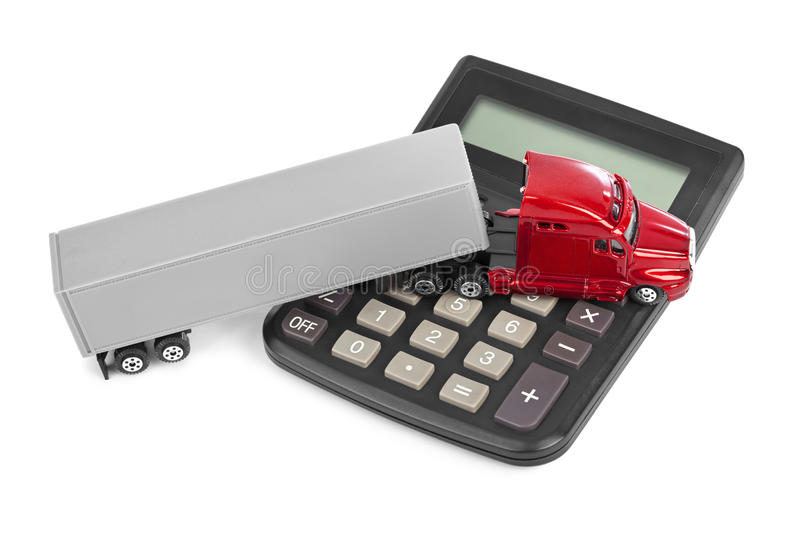 Calculator and toy truck car stock photos