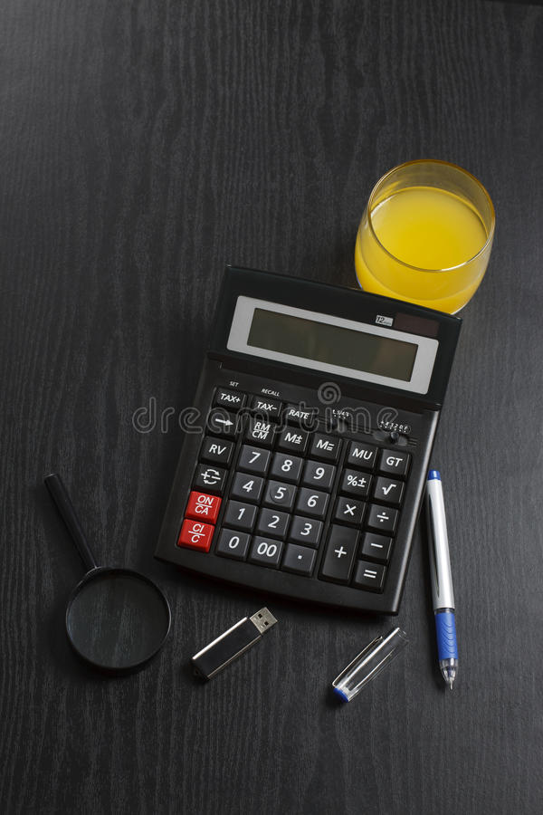 Download Calculator With Usb Stick, Pen, Orange Stock Photo - Image: 22442088