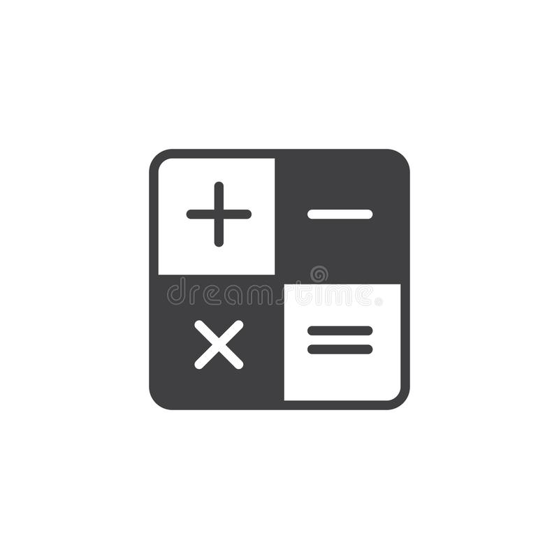Calculator vector icon. Filled flat sign for mobile concept and web design. Mathematical operations simple solid icon. Symbol, logo illustration. Pixel perfect royalty free illustration