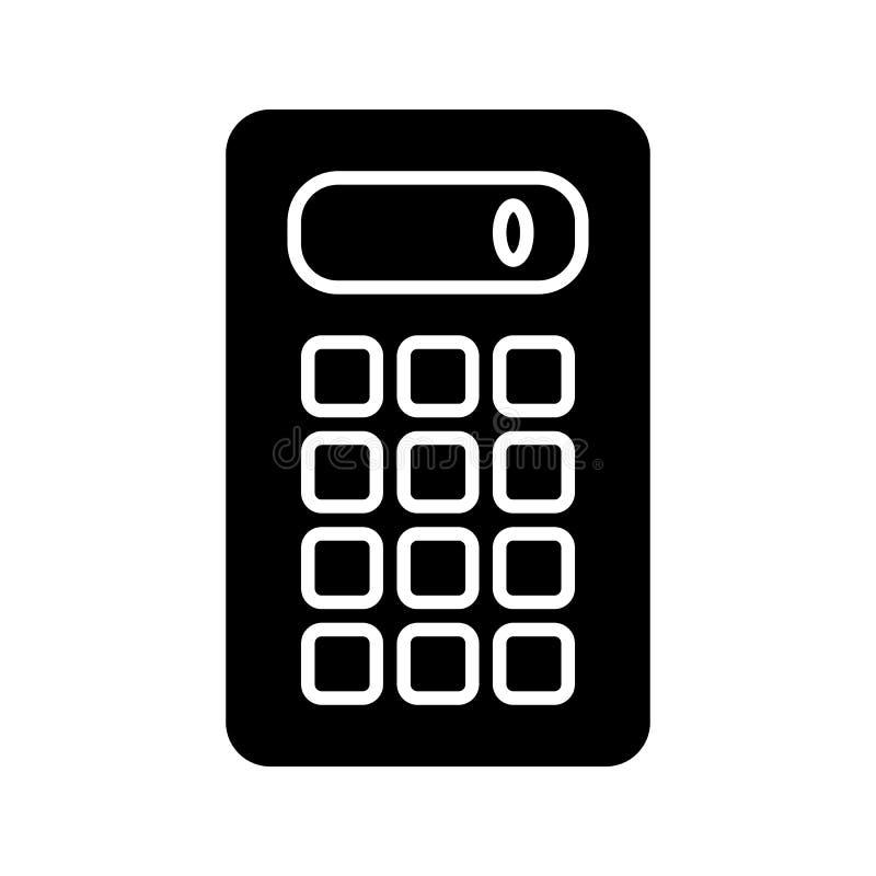 Calculator Vectorpictogram De zwart-witte illustratie van de computertechniek Stevig lineair pictogram royalty-vrije illustratie