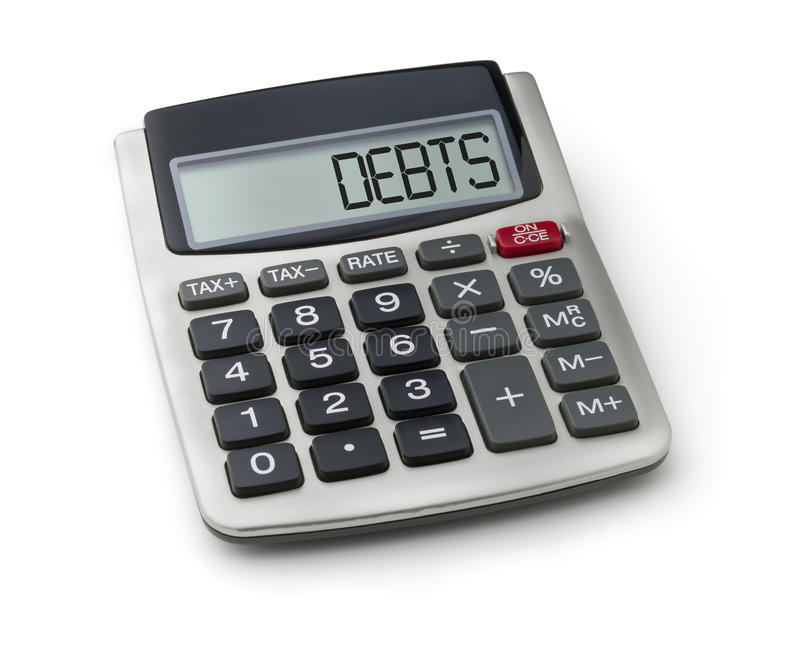 Calculator with the word debts royalty free stock image