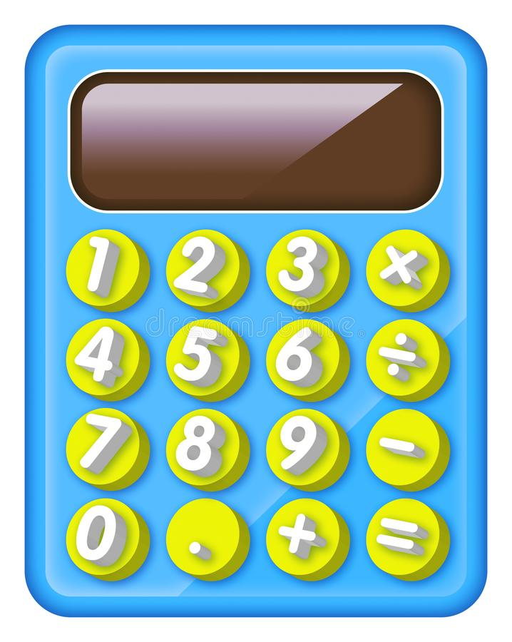 Calculatrice électronique et colorée pour des enfants illustration stock