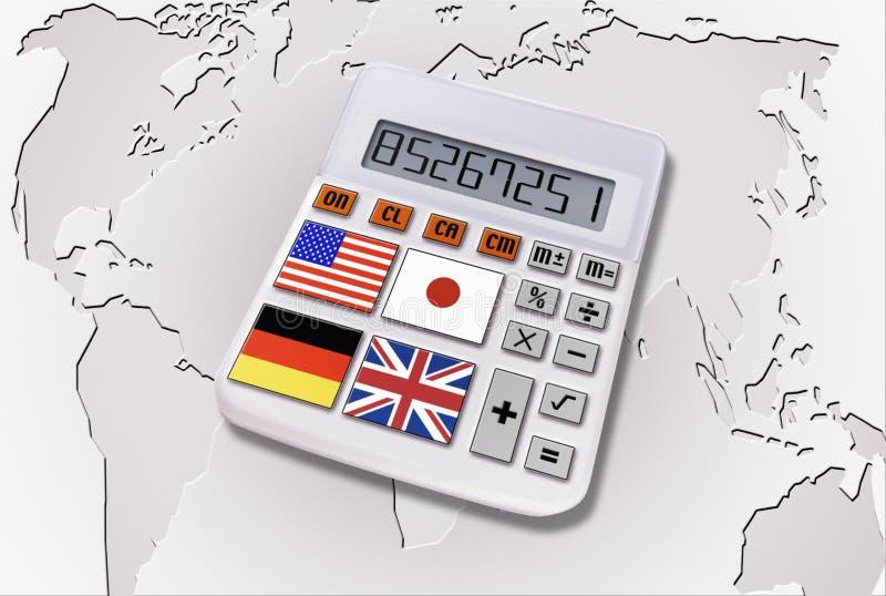 Calculatrice avec des indicateurs du monde image libre de droits