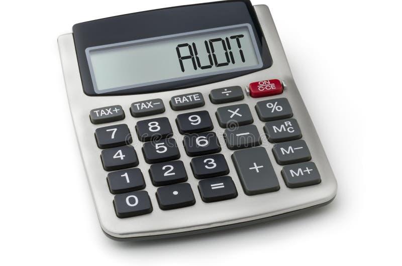 Calculatrice avec l'audit de mot sur l'affichage photo stock