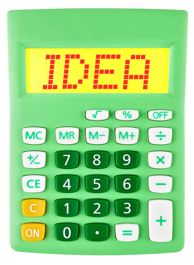 Calculatrice avec l'IDÉE sur l'affichage d'isolement photographie stock
