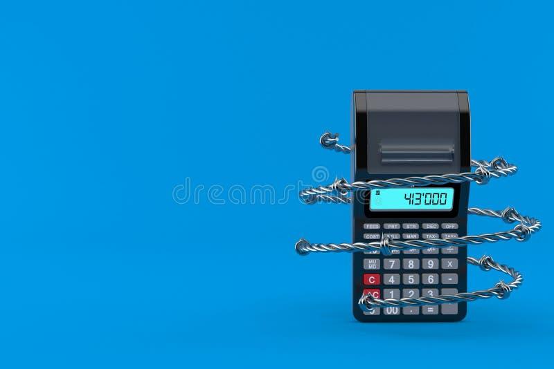 Calculatrice avec le barbelé illustration stock