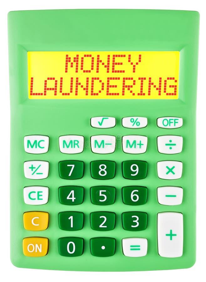 Calculatrice avec le BLANCHIMENT D'ARGENT d'isolement image stock