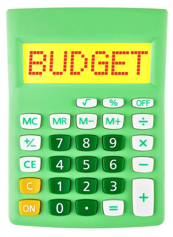Calculatrice avec le BUDGET sur l'affichage d'isolement photographie stock libre de droits
