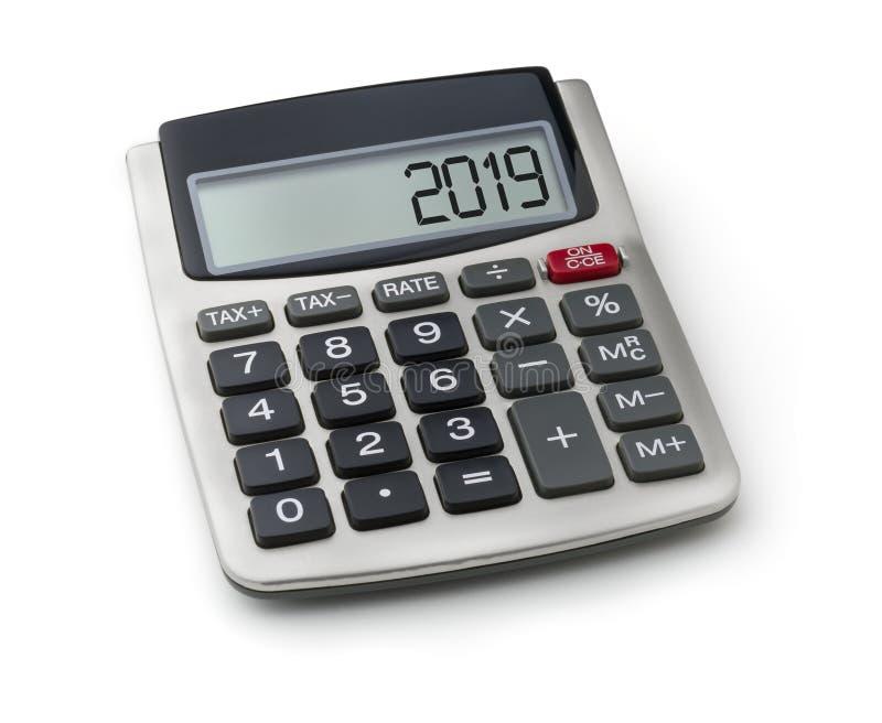 Calculatrice avec le mot 2019 sur l'affichage photo stock