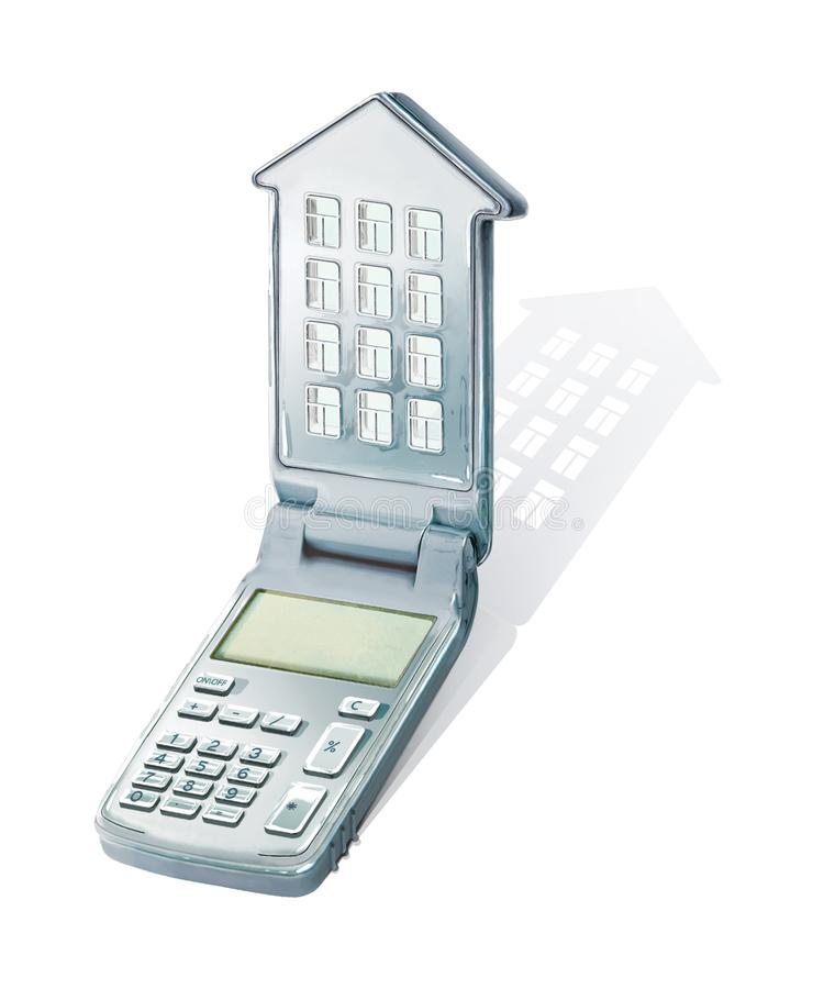 Calculatrice avec un couvercle sous forme de maison avec des fenêtres et un toit Calculatrice des versements hypothécaires illust illustration stock