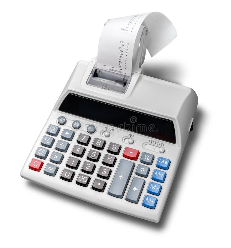 Calculatrice d'impression avec de bande paerforée enroulé images libres de droits