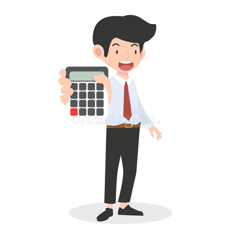 Calculatrice de participation d'homme d'affaires comptant le concept illustration de vecteur