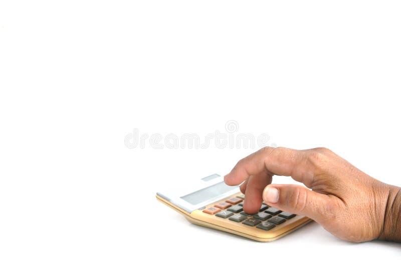 Calculatrice de presse de main vieille photos libres de droits