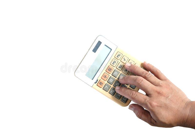 Calculatrice de presse de main vieille image stock