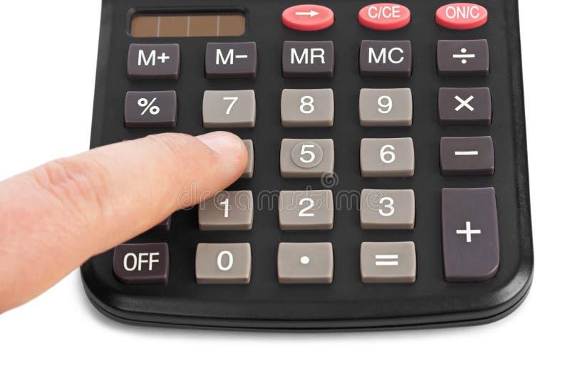 Calculatrice et main d'affaires photo libre de droits