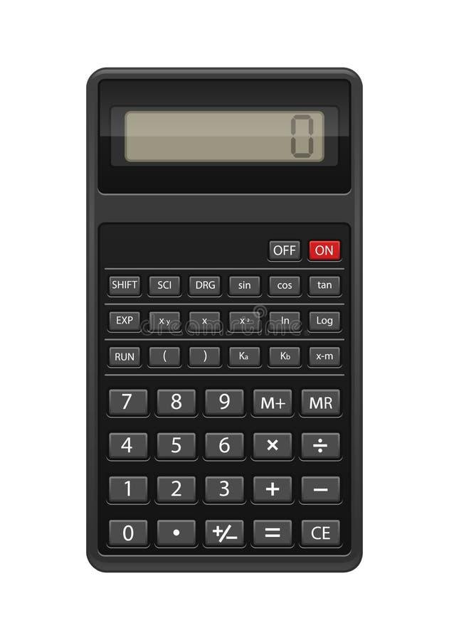 Calculatrice réaliste noire d'isolement au fond blanc illustration stock