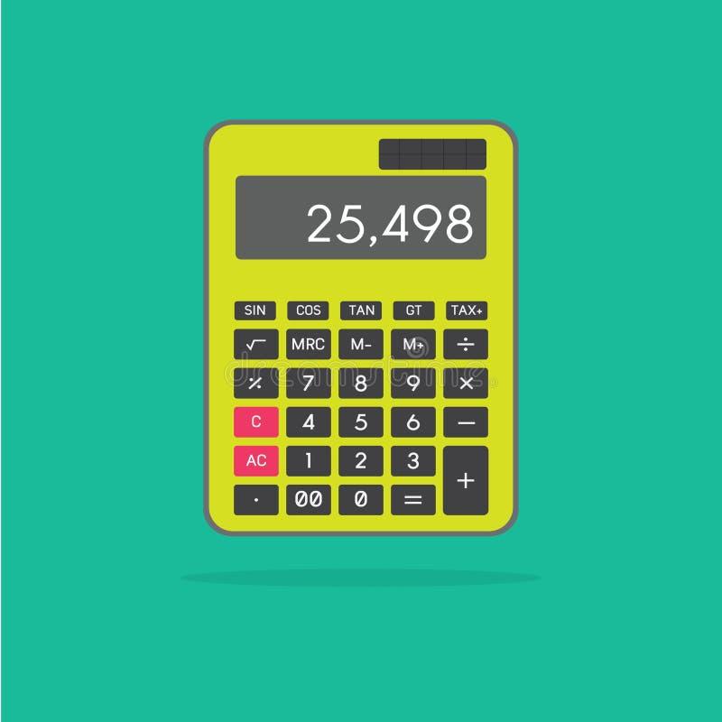 Calculatrice verte, icône verte plate de calculatrice images libres de droits