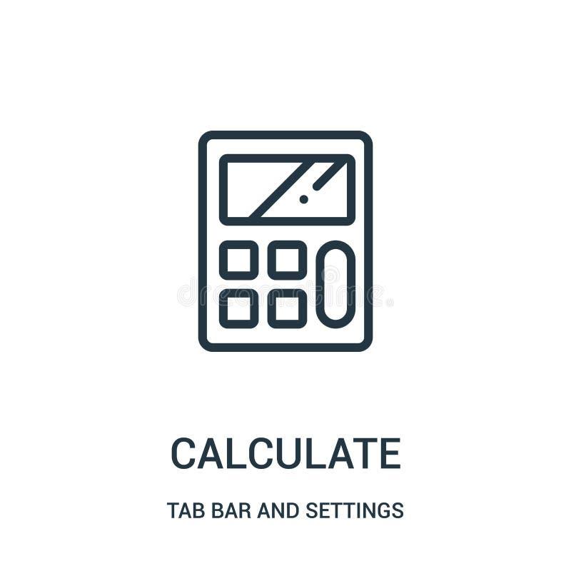 calcule o vetor do ícone da barra da aba e da coleção dos ajustes A linha fina calcula a ilustração do vetor do ícone do esboço ilustração do vetor