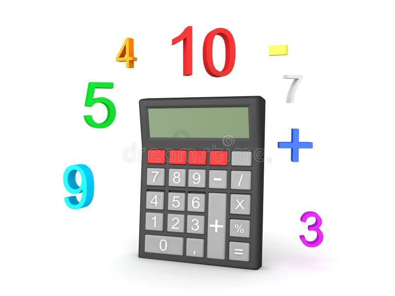 calculette 3D avec des nombres autour de elle illustration de vecteur