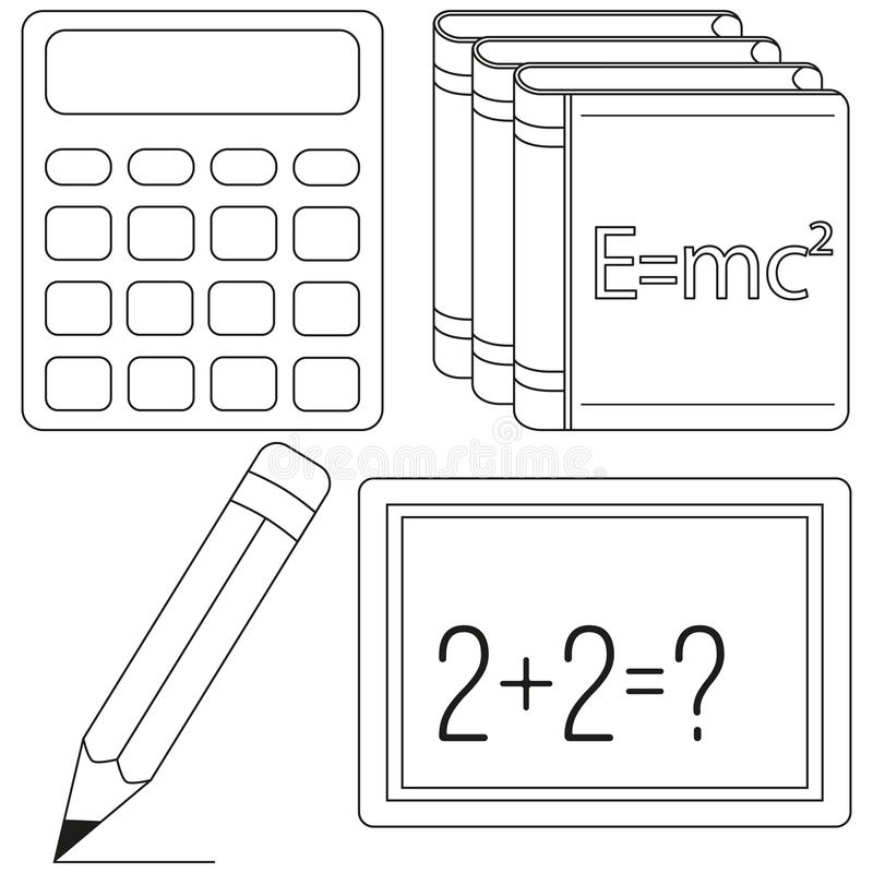 Calculus and physics study icon set. Line art black and white calculator pencil textbook chalk board. Education theme vector illustration for gift card banner vector illustration