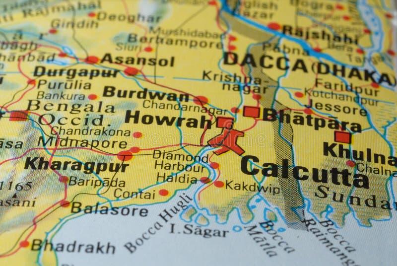 Calcutta drogowa mapa zdjęcie stock