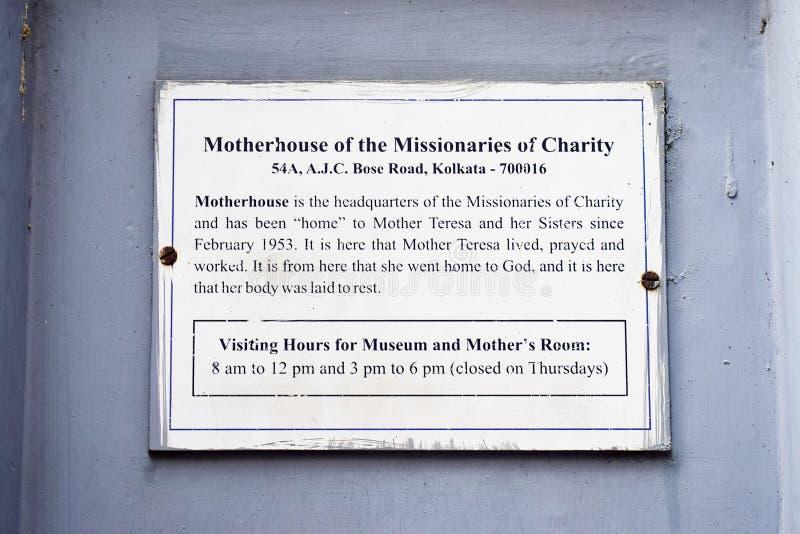 Calcutta Calcutta/India - 10 aprile 2019: Madre Teresa Motherhouse dei missionari del museo e delle sedi di carit? fotografia stock