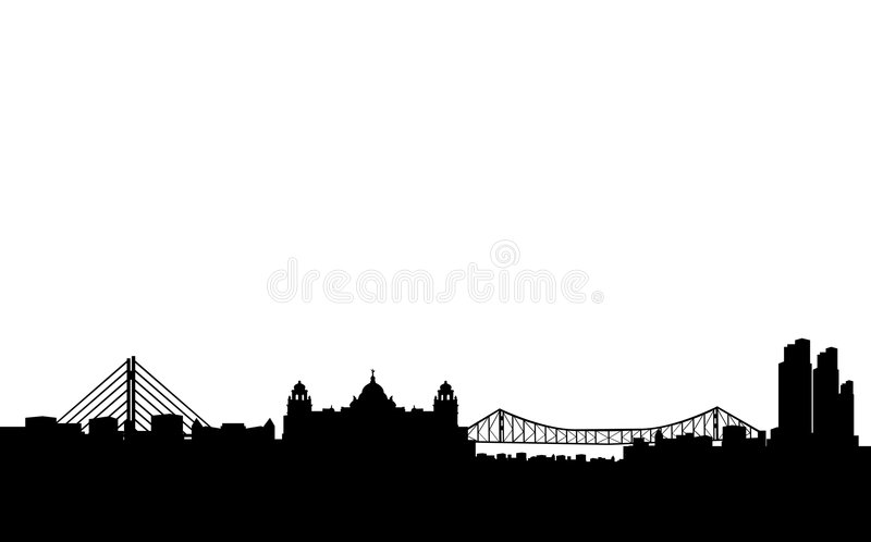 Calcutta skyline vector and landmarks. Vectored illustration as silhouettes of the skyline of indian city of calcutta, with rail bridge and victoria monument stock illustration