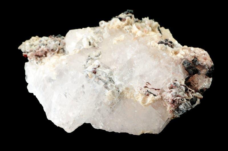 Calcyte Mineral getrennt auf Schwarzem lizenzfreie stockfotografie