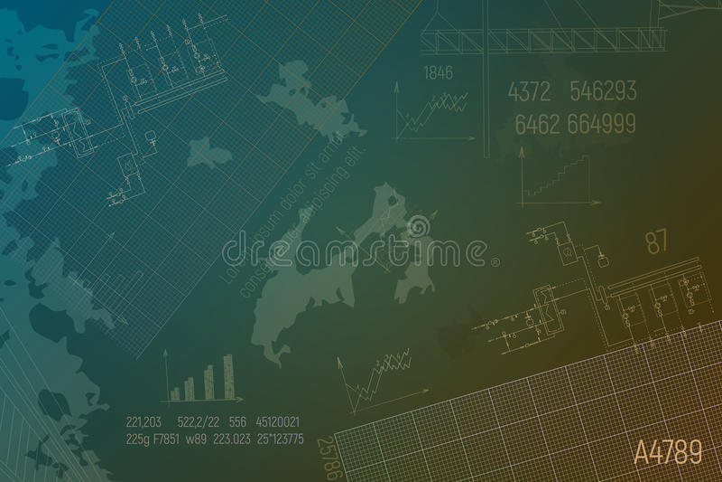 Caldaia del circuito su fondo verde Progetto tecnico Steamshop illustrazione vettoriale