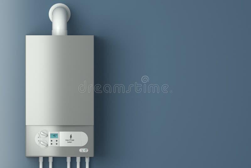 Caldaia a gas domestica. L'installazione dell'attrezzatura del gas. illustrazione vettoriale