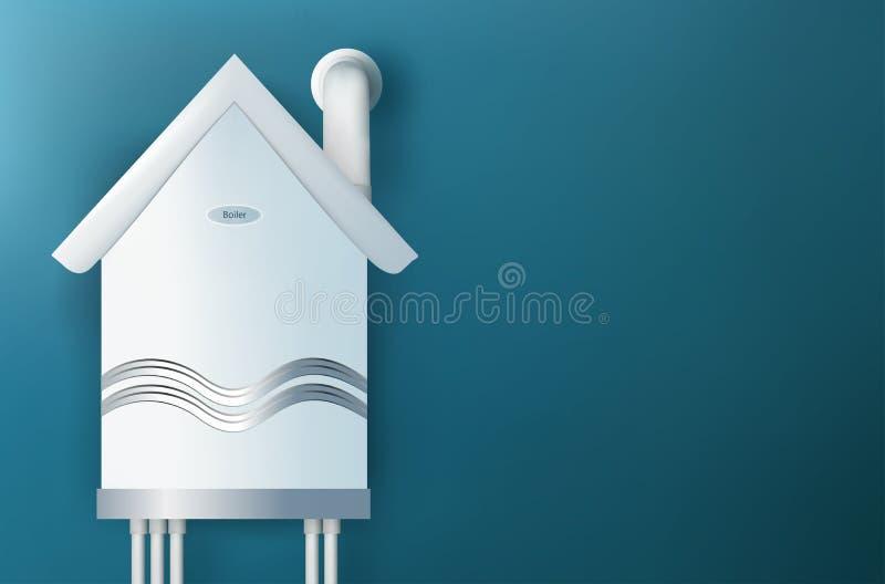 Caldaia a gas moderna sotto forma di una casa Casa di riscaldamento Scaldi un concetto domestico illustrazione 3D royalty illustrazione gratis