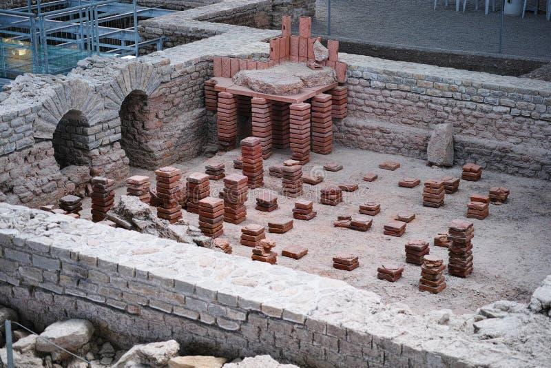 Caldarium考古学挖掘 免版税库存照片