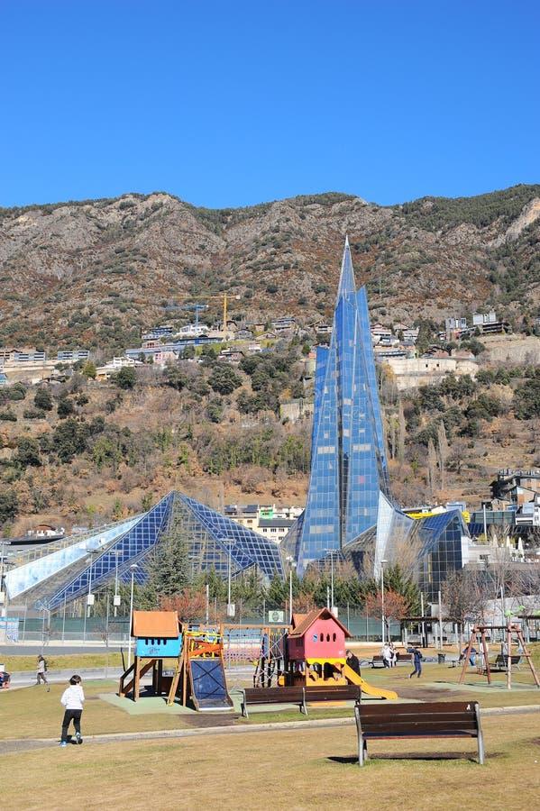 Caldea is een gezondheid en vermaakcentrum in Andorra, het grootste thermische centrum in Europa royalty-vrije stock afbeeldingen