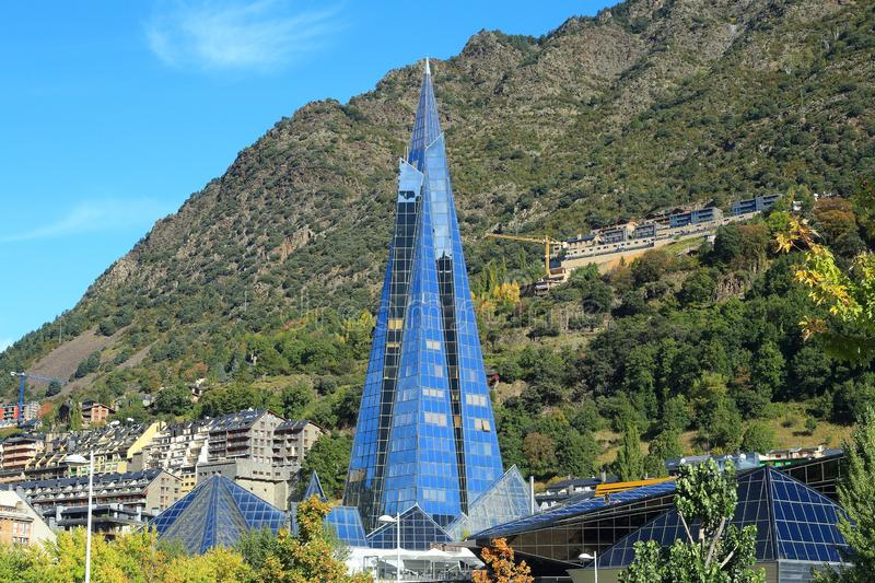 Caldea, Andorra la Vella, Principality of Andorra. Caldea is a spa resort in Escaldes-Engordany, Andorra. Finished in 1994, it has 18 floors. It is Europe`s royalty free stock photo
