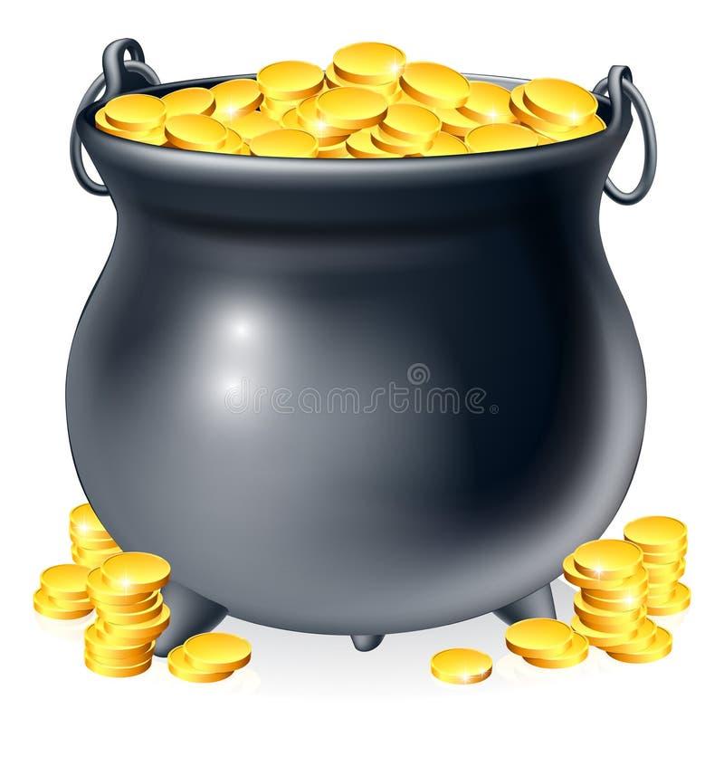 Caldeirão completamente de moedas de ouro ilustração do vetor