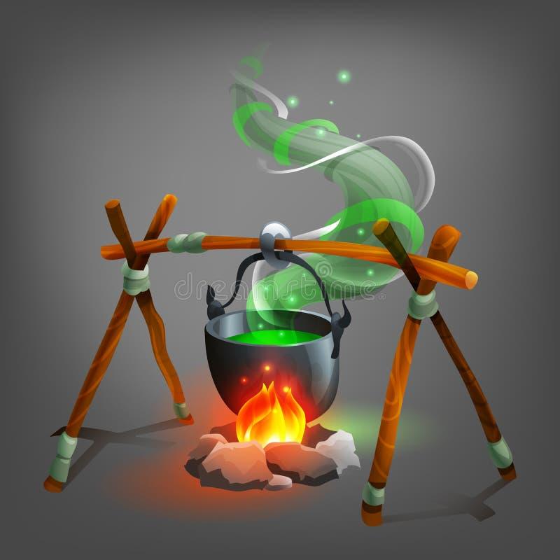 Caldeirão de Dia das Bruxas com poção ilustração do vetor