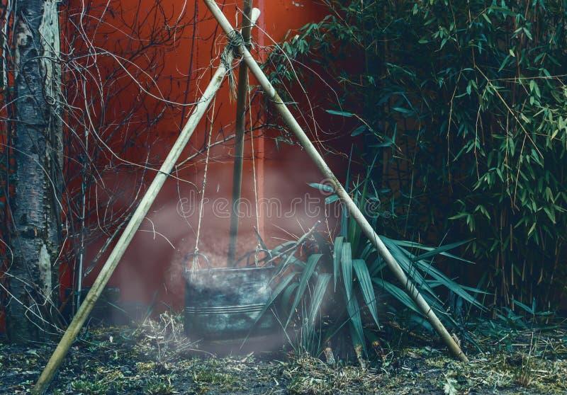 Caldeirão de fumo na obscuridade, no equipamento do local de acampamento, no Dia das Bruxas e na feitiçaria fotos de stock