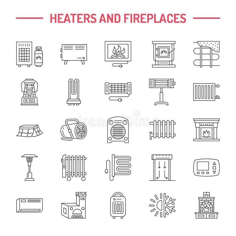 A caldeira de água, o termostato, os calefatores solares do gás bonde e outros dispositivos de aquecimento da casa alinham ícones ilustração do vetor