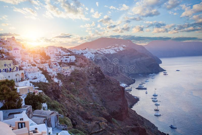 Caldeira de la Grèce, du Santorini et horizon image libre de droits