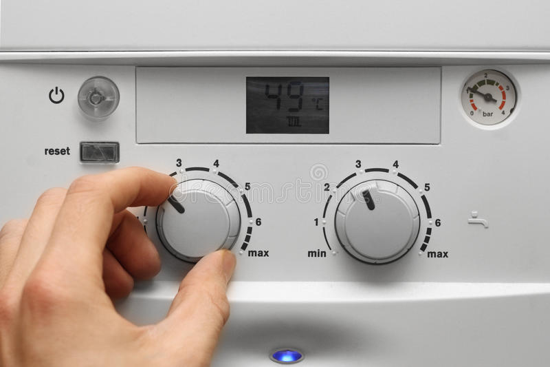 Caldeira do aquecimento da casa imagem de stock