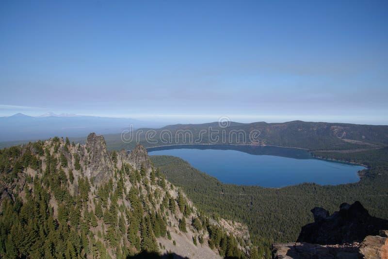 Caldeira et Paulina Lake, vue aérienne de Paulina Peak photos stock