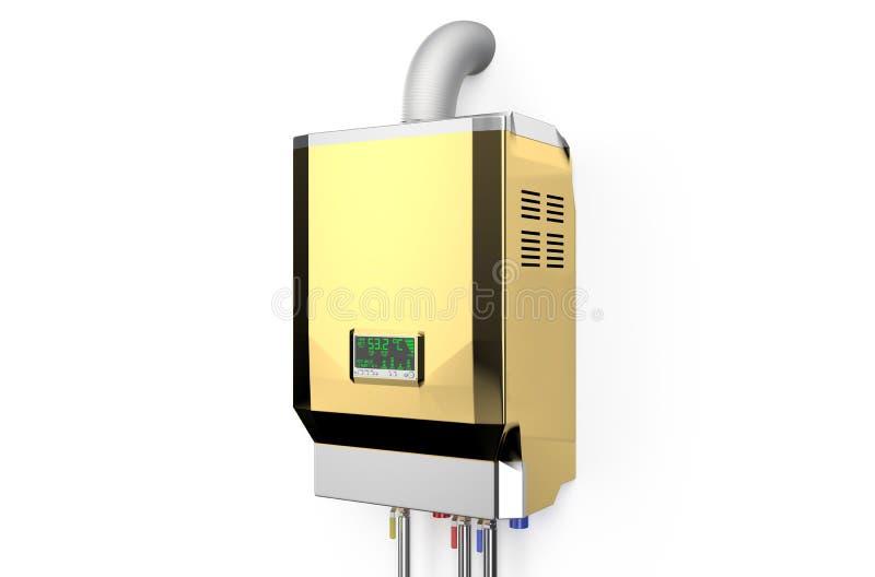 Caldeira gás-ateada fogo home dourada, aquecedor de água ilustração stock