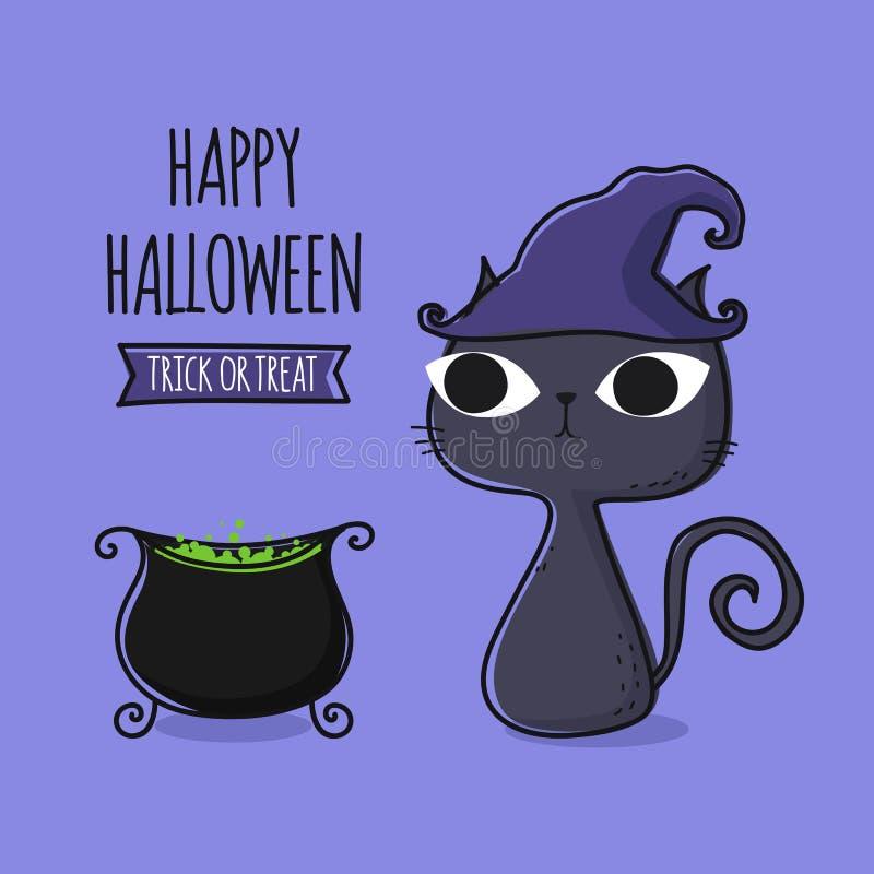 Caldeira mágica bonito do caldeirão dos desenhos animados do gato e da bruxa da mágica no purp ilustração stock
