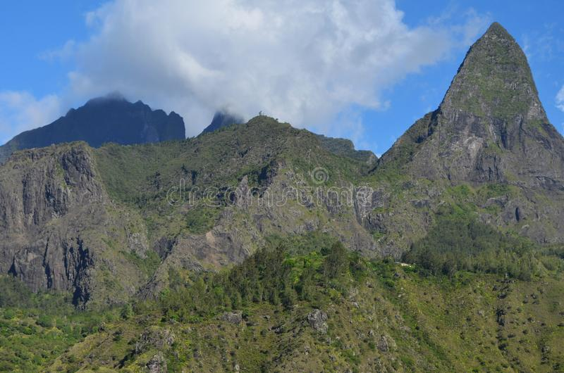 Caldeira volcanique de Mafate en île de Réunion photos libres de droits