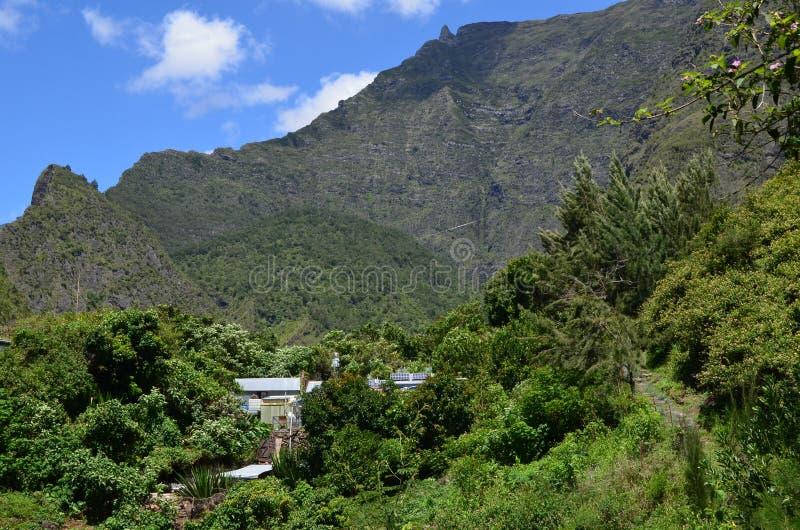 Caldeira volcanique de Mafate en île de Réunion photographie stock